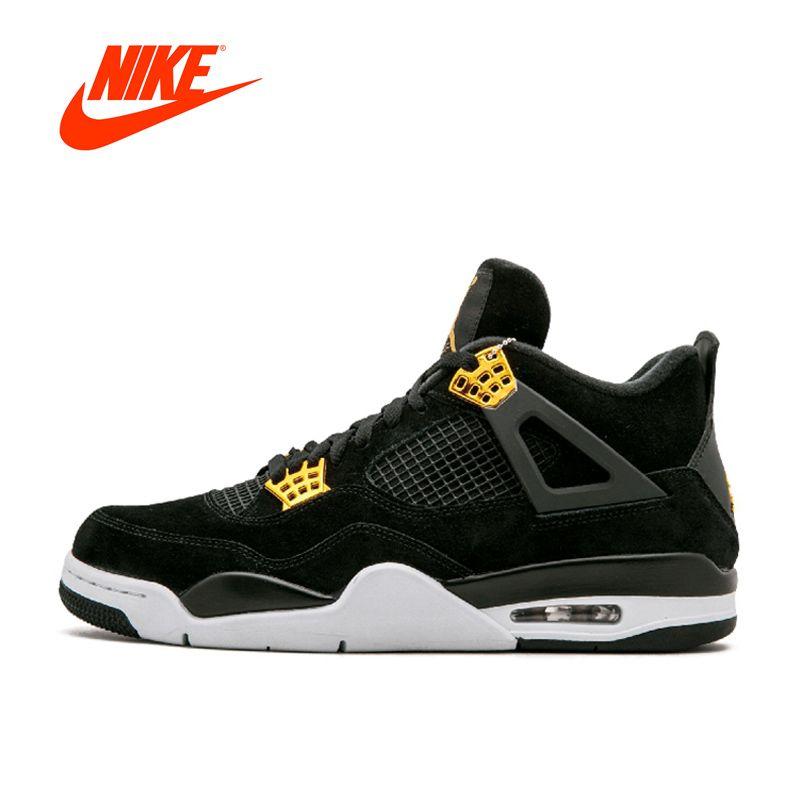 Оригинальный Новое поступление Аутентичные Nike Air Jordan 4 роялти AJ4 дышащая Для Мужчин's Баскетбольные кеды спортивные Спортивная обувь