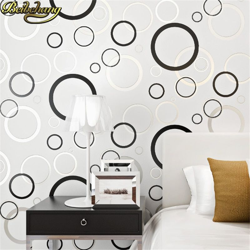 beibehang 3D Wallpapers Modern Geometric Paper for Walls Circle designs Non Woven Wallpaper Living Room Bedroom Background