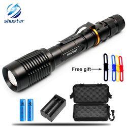 CREE XM-L T6/L2 LED lampes de Poche Torche 8000 Lumens zoomable led torche Pour 2x18650 batteries en aluminium + chargeur + boîte de Cadeau + cadeau Gratuit