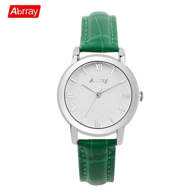 Abrray простой серебряный цвет женские часы ремень из натуральной кожи кварцевые наручные часы водонепроницаемый японский механизм Женские ч...
