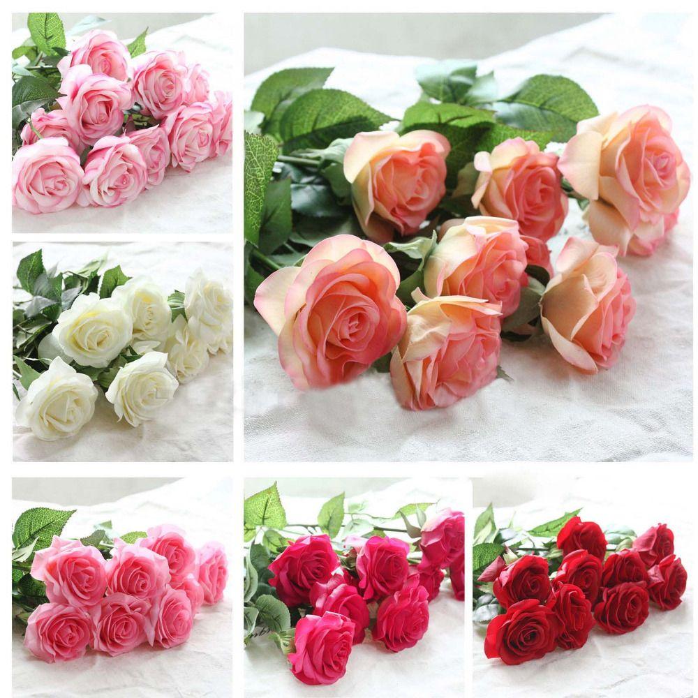 20 unids/set Rosa ramo de flores Royal Rose flores artificiales de Látex verdadero toque de rosa flores de la boda en casa de lujo decoración
