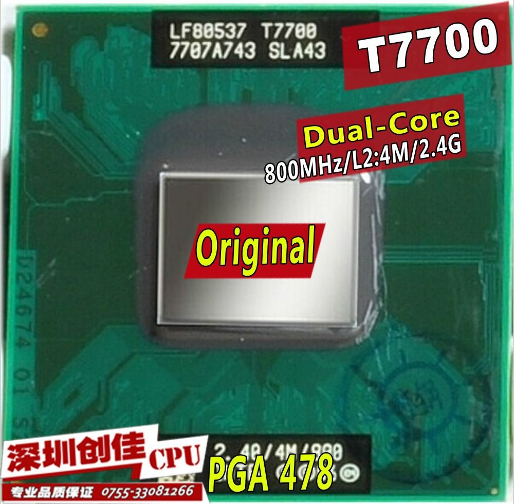Original intel CPU laptop Core 2 Duo T7700 CPU 4M Socket 479 Cache/2.4GHz/800/Dual-Core Laptop processor support 965