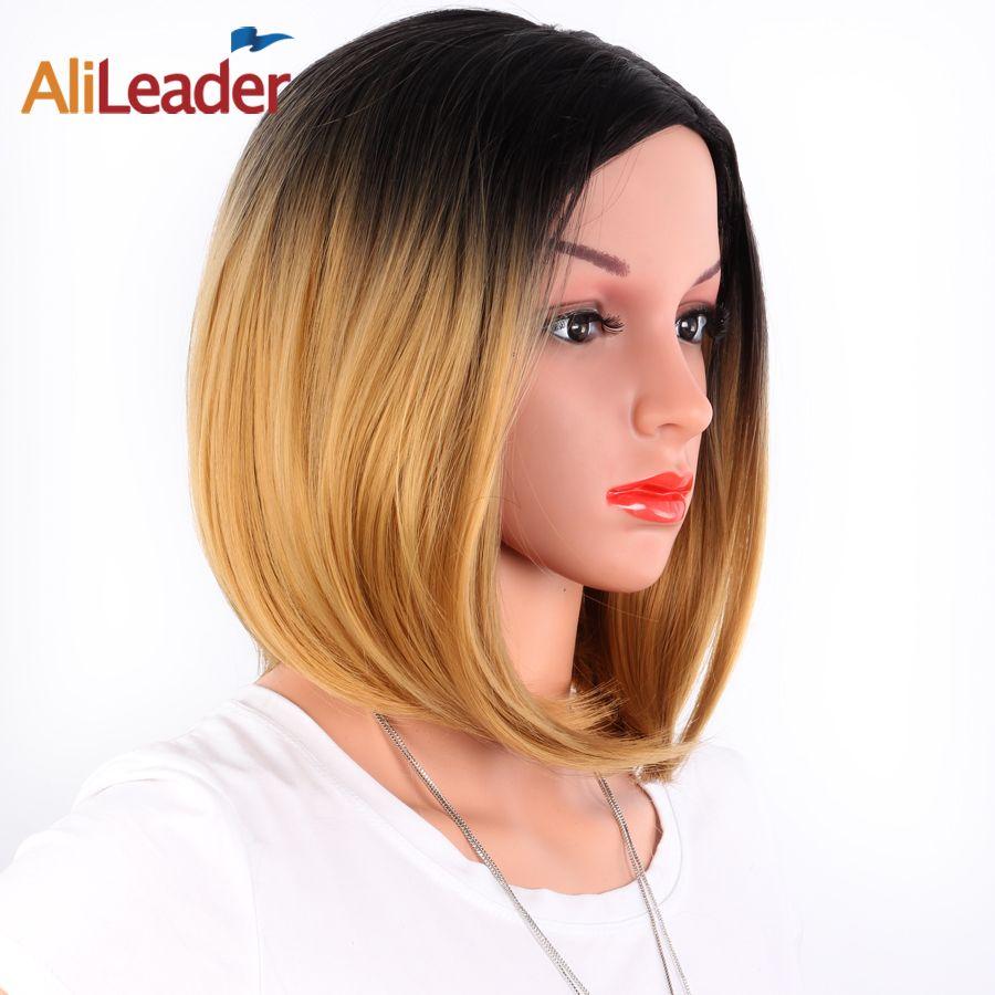 AliLeader afro-américain Bob perruques courte longueur d'épaule Ombre Blonde verte 8 couleurs perruques synthétiques droites pour les femmes noires
