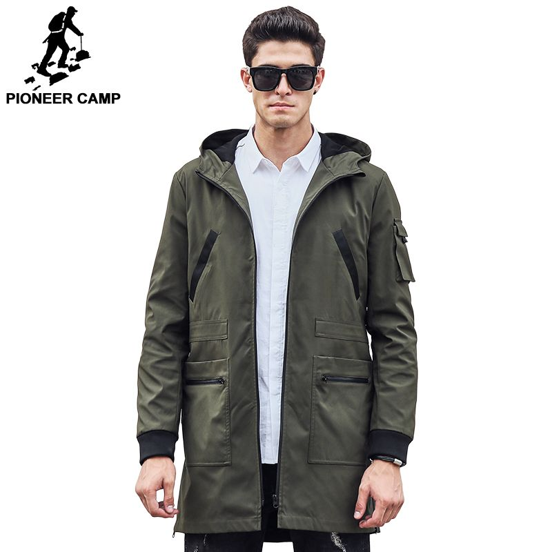 Pioneer camp 2017 neue trenchcoat männer marke kleidung top qualität männlichen langen armee-grün graben mantel windjacke 611315
