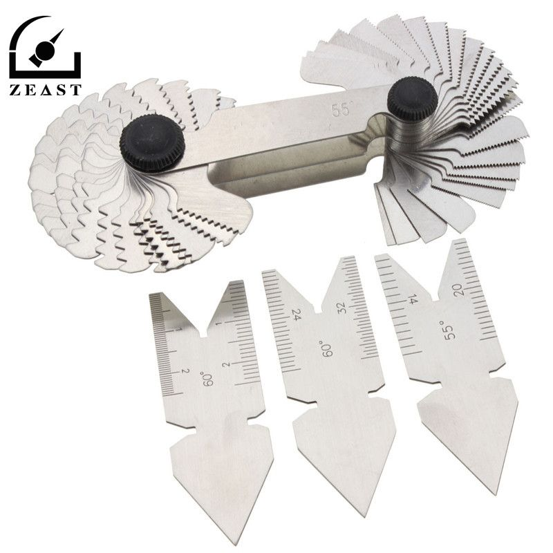 4pcs Screw Thread Pitch Cutting Gauge Tool Set Centre Gage 55&60 Degree Inch & Metric Measuring Gauging Lathe Tools