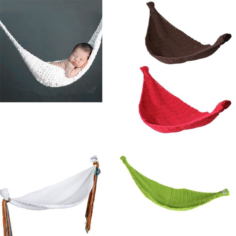 New Crochet Baby Hammock Photography Props Knitted Newborn Infant Costume Toddler Props berco do bebe cradle dropshipping