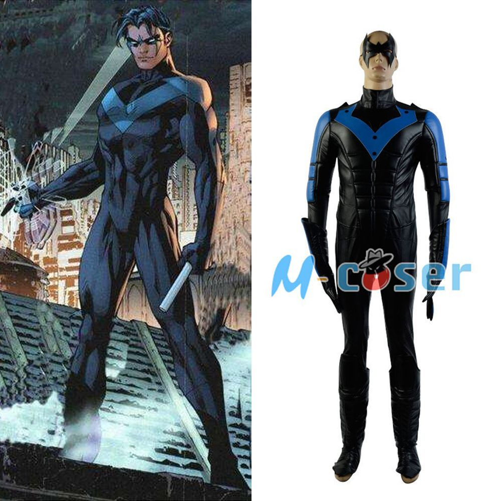 Batman: Arkham Stadt Nightwing Richard John Dick Grayson Cosplay Kostüm Für Männer Vollen satz