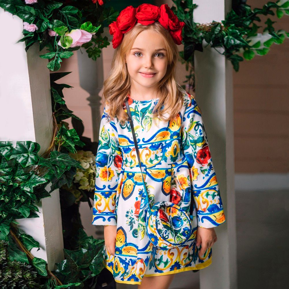 Princess Girls Dress Long Sleeve 2018 Autumn Brand <font><b>Children</b></font> Christmas Dress with Bag Printed Kids Dresses for Girls Clothing