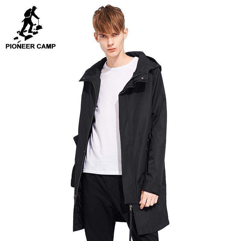 Pioneer camp 2018 Frühling feste kapuze lange trenchcoat männer marke kleidung lässige mode qualität windjacke männlichen mantel AFY803121