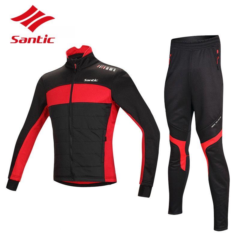 Santic Winter Radfahren Jersey Setzt Thermische Fleece Bike Radfahren Kleidung Winddicht Warme Fahrrad Jacke Mantel Ropa Ciclismo