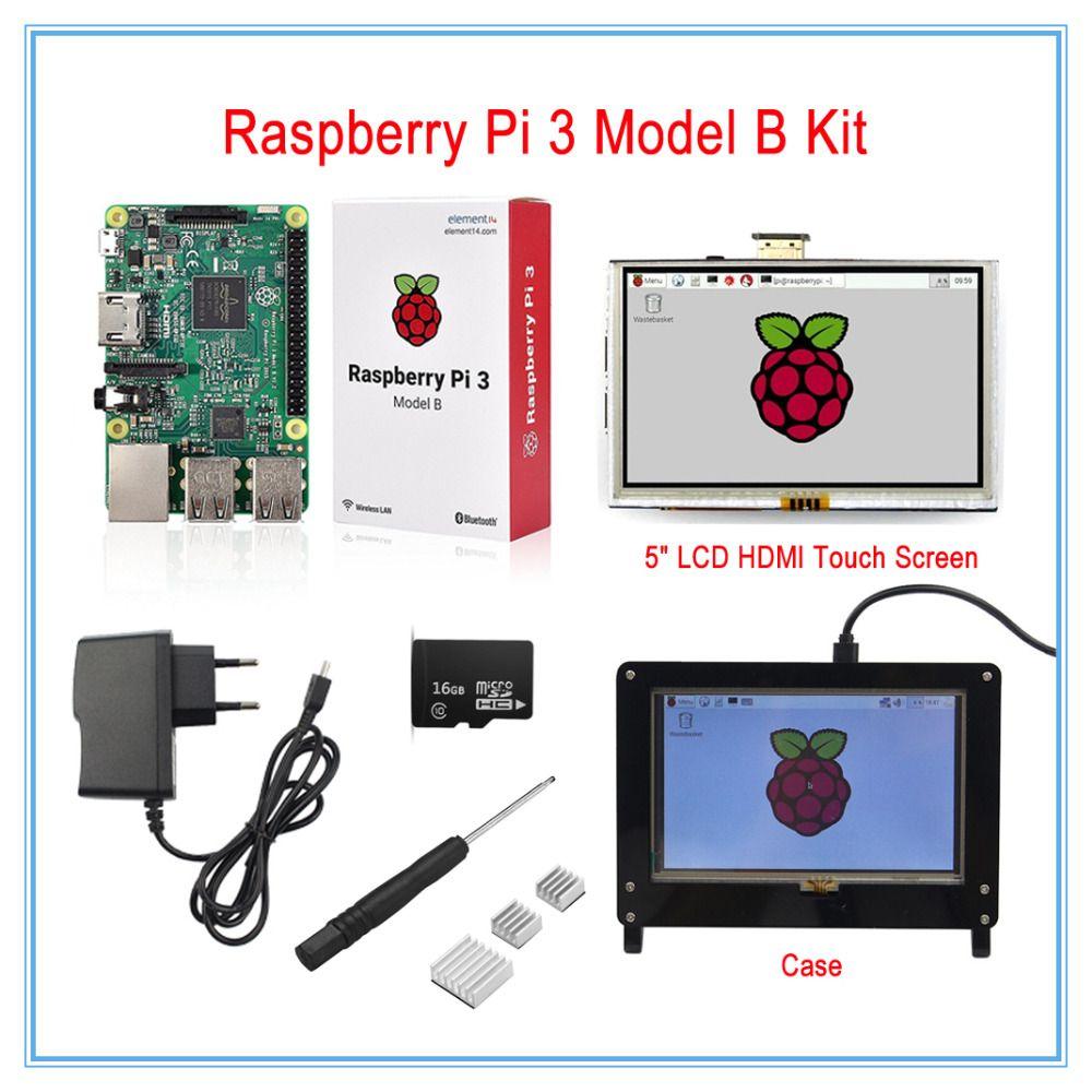 Raspberry Pi 3 Modèle B Conseil Kit/5 Pouce LCD HDMI USB Écran Tactile + 5 V 2.5A Puissance fournir + Dissipateurs + Cas (Noir)