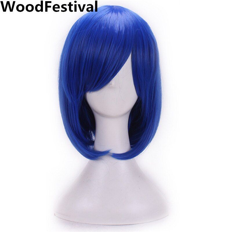 Woodfestival женщин синтетический парик косплей волос термостойкие русый красный синий фиолетовый прямой короткий боб парики с челкой черный