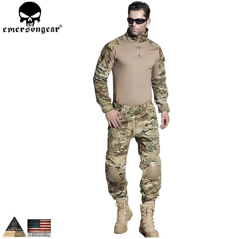 EMERSONGEAR Airsoft Training Clothing Combat Shirt Pants with Elbow Knee Pads Multicam Camouflage Suit Hunting Uniform EM2725