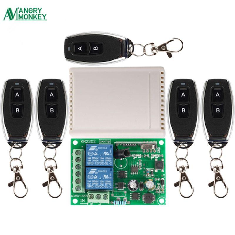 433 Mhz universel sans fil télécommande commutateur AC 250V 110V 220V 2CH relais récepteur Module et 5 pièces RF 433 Mhz télécommandes