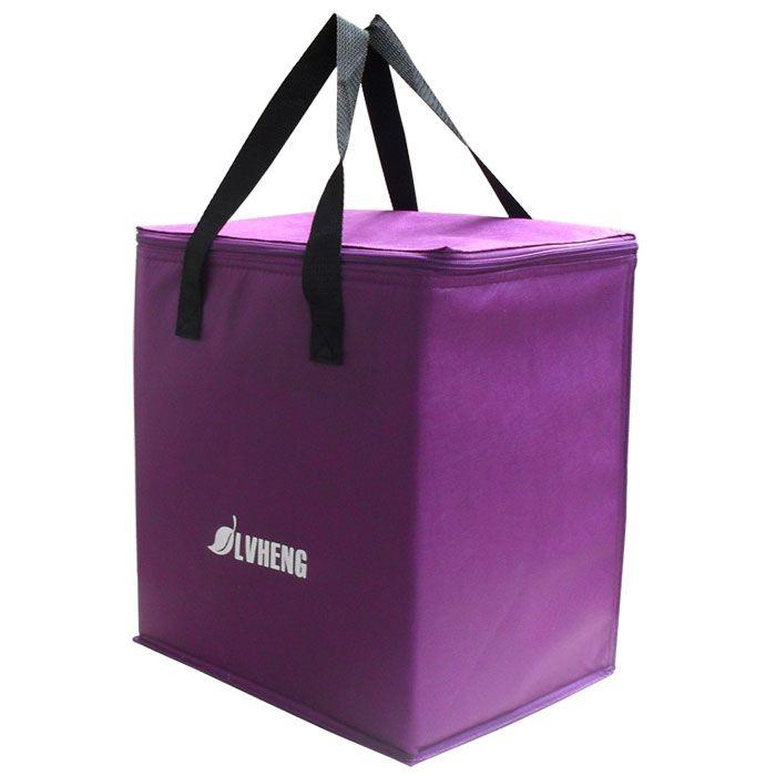 Sac à main de refroidissement non-tissé léger pourpre sac thermique de nourriture de prise facile 9L sac de glace frais bon marché w/feuille isolante
