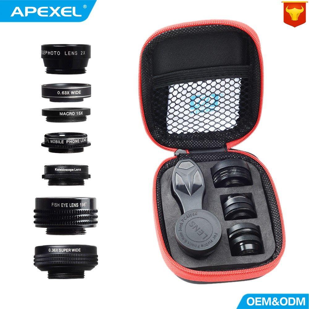 APEXEL Camera Lens 7in1 dans mobile téléphone Fisheye Grand Angle macro Lentille CPL Kaléidoscope téléobjectif zoom Lens pour iPhone SAMSUNG mi