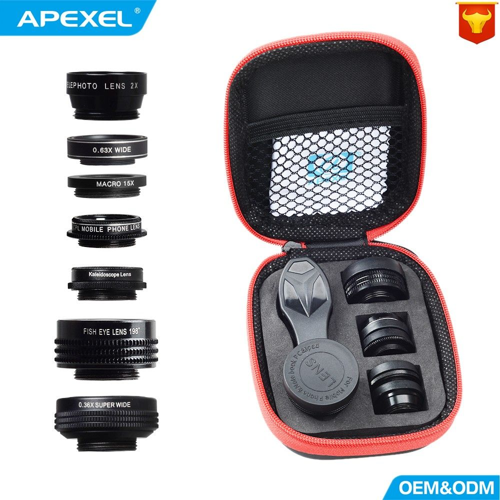APEXEL Camera Lens 7in1 dans mobile téléphone Fisheye Grand Angle macro Objectif CPL Kaléidoscope téléobjectif zoom Lens pour iPhone SAMSUNG mi