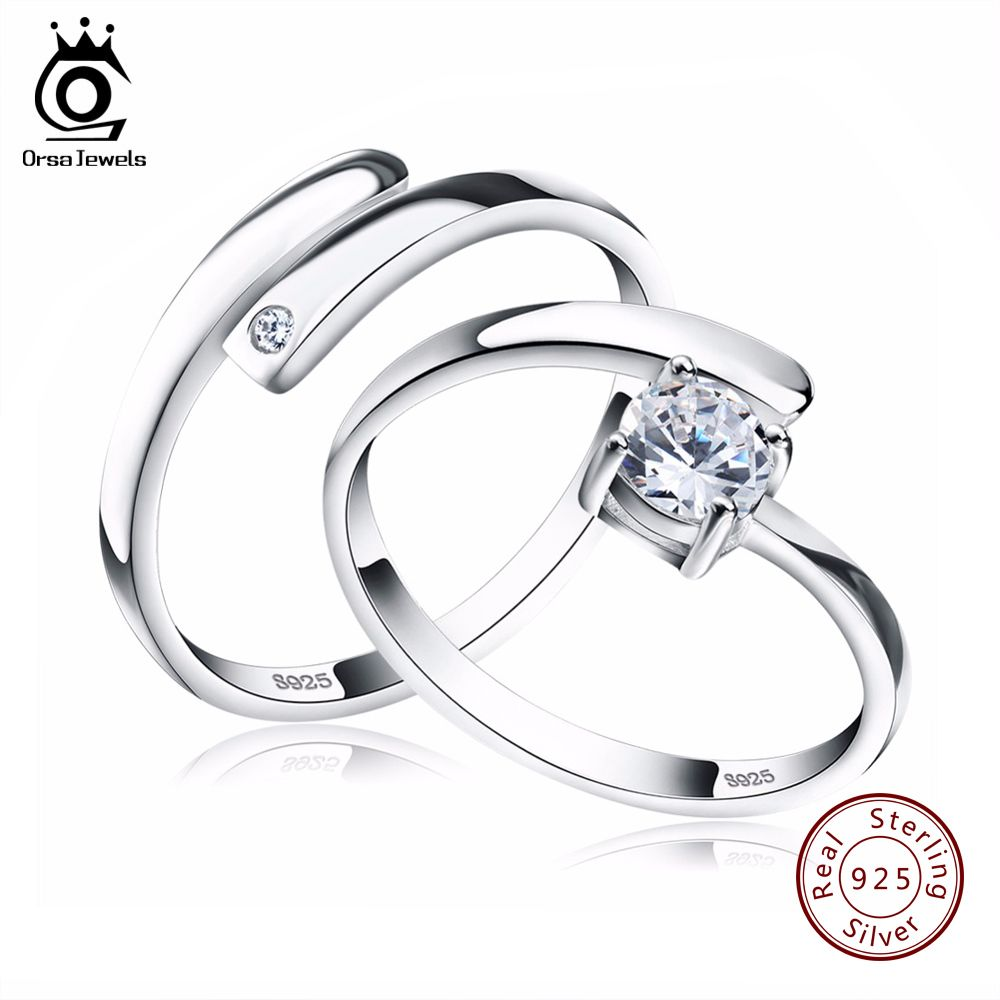 ORSA JEWELS 925 Silver Ring Set with CZ Fine Jewelry for Women Men 2017 New Resizable Real 925 Sterling Silver Jewelry SR22