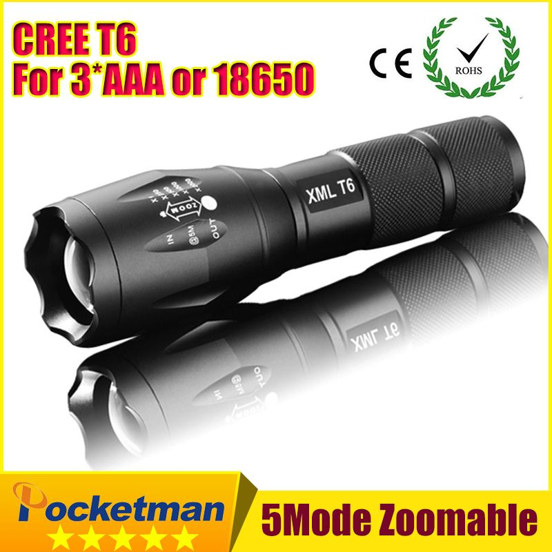2018 E17 CREE XM-L T6 3800Lumens cree led Torch Zoomable cree LED Flashlight Torch light For 3xAAA or 1x18650 Free shipping ZK96