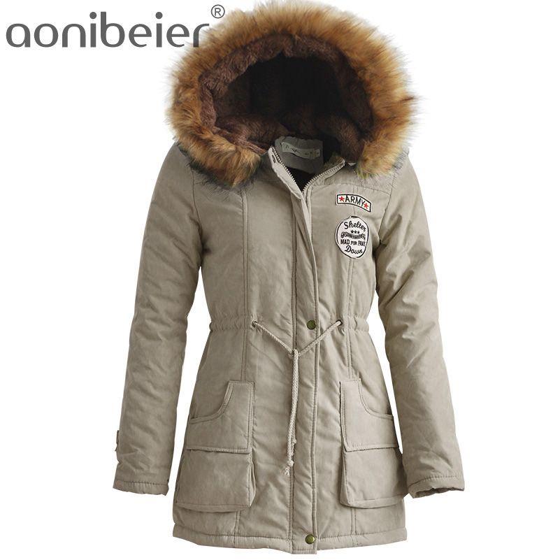 Aonibeier Winter Women Jacket Artificial Fur Collar Hooded Coat Warm Jacket Female Outerwear Casual Long Down Cotton Coats