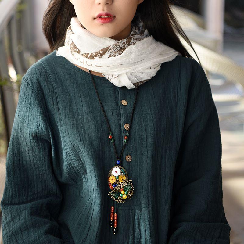 Mignon chandail vintage collier pour les femmes longue corde chaîne bronze alliage papillon shell pendentif fleur bijoux de mode nouvelle arrivée