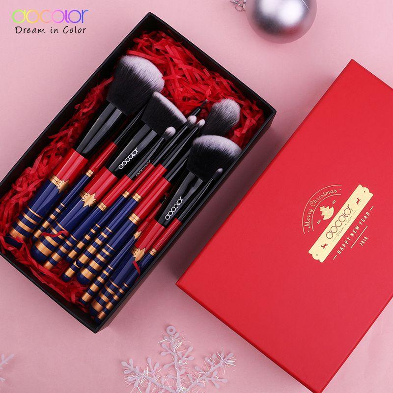 Docolor 12 stücke Make-up Pinsel Set Weihnachten Geschenk Pinsel für Make-Up Nizza Paket Synthetische Haar Pulver Stiftung Auge Pinsel