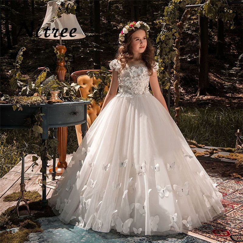 Butterfly New Kids Pageant Evening Gowns 2018 Lace Ball Gown Flower Girl Dresses For Weddings First Communion Dresses For Girls