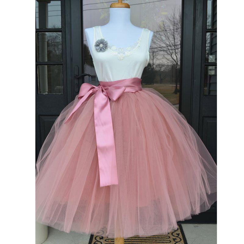 6Layers 65cm Fashion Tulle Skirt Pleated Tutu Skirts Womens Lolita Petticoat Bridesmaids <font><b>Vintage</b></font> Midi Skirt Jupe Saias faldas
