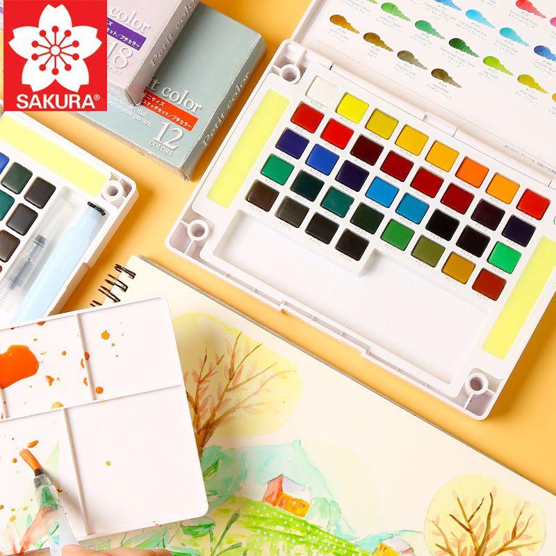 SAKURA 36/48/60/72 couleur solide peinture à l'eau ensemble avec pinceau aquarelle peinture boîte pour dessin peinture Art fournitures