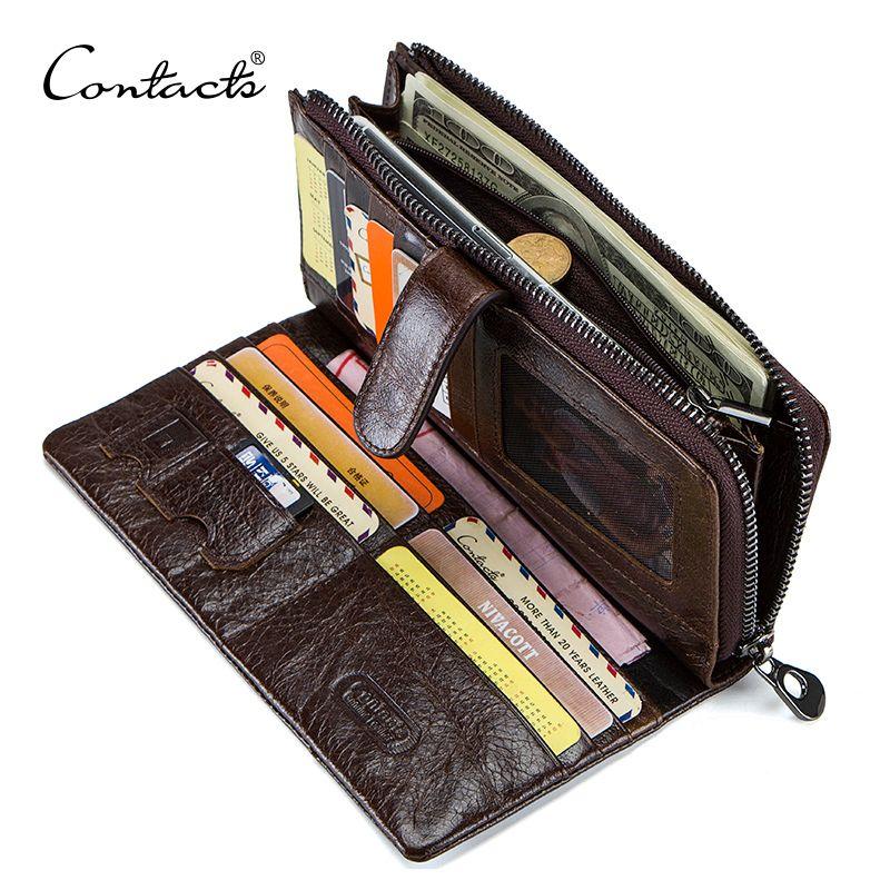 CONTACT'S en cuir véritable hommes portefeuilles de haute qualité longue pochette portefeuille Design porte-carte sac à main sac à monnaie poches marque célèbre