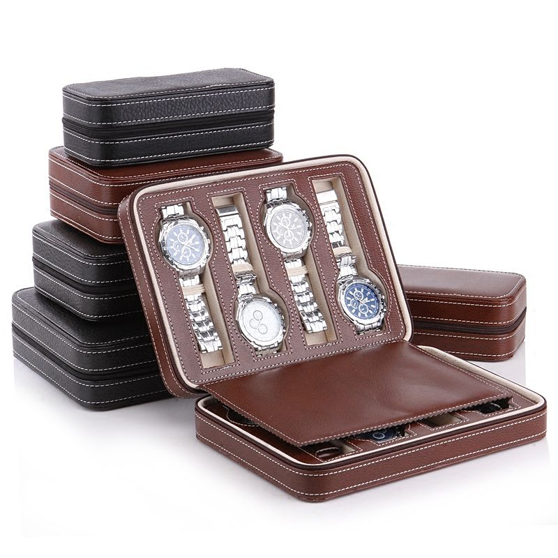 Luxury 2-8 Grids Leather Watch Box Portable travelling Watch bag Storage Watches Display Box Case Jewelry Watch Collector Case