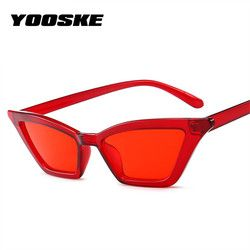 YOOSKE Vintage Sunglasses Women Cat Eye Luxury Brand Designer Sun Glasses Ladies Cateye Sunglass Retro Red Black UV400 Eyewear
