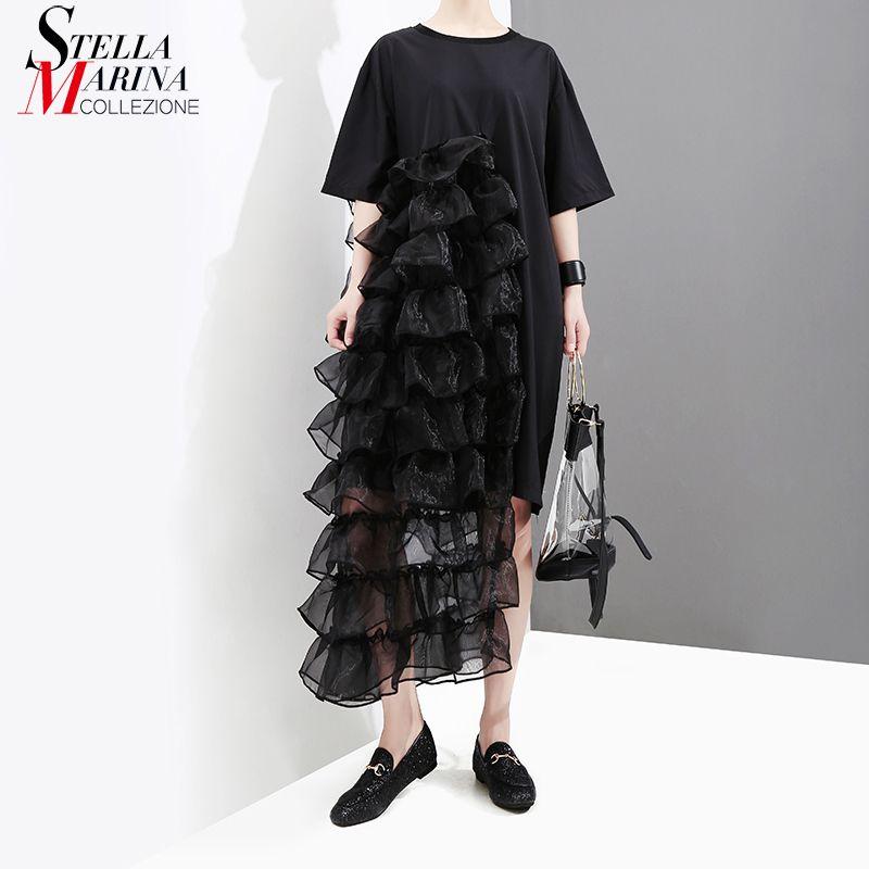 New 2018 Korean Style Women Black White Summer Dress With Mesh Ruffles Girls Stylish Female Night Party Clubwear Midi Dress 3626