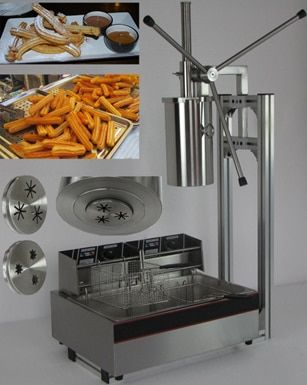 5L Capactity commercial electric churro maker with 12L Deep Fryer making three pieces at one time