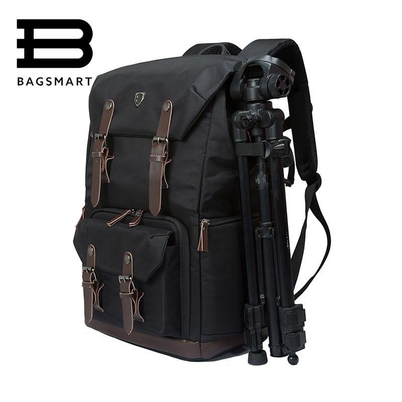 BAGSMART Canvas&Leather Retro Camera Bag NATIONAL GEOGRAPHIC NG5070 Camera Backpack Black Travel Camera Backpack Photography Bag