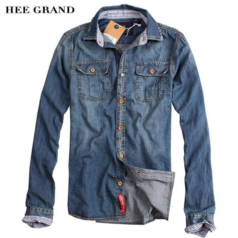 Hee Grand/Для мужчин Повседневное Джинсовые Рубашки Стильный отложной воротник длинный рукав Однобортный хлопок прочный Осенняя рубашка mcl708