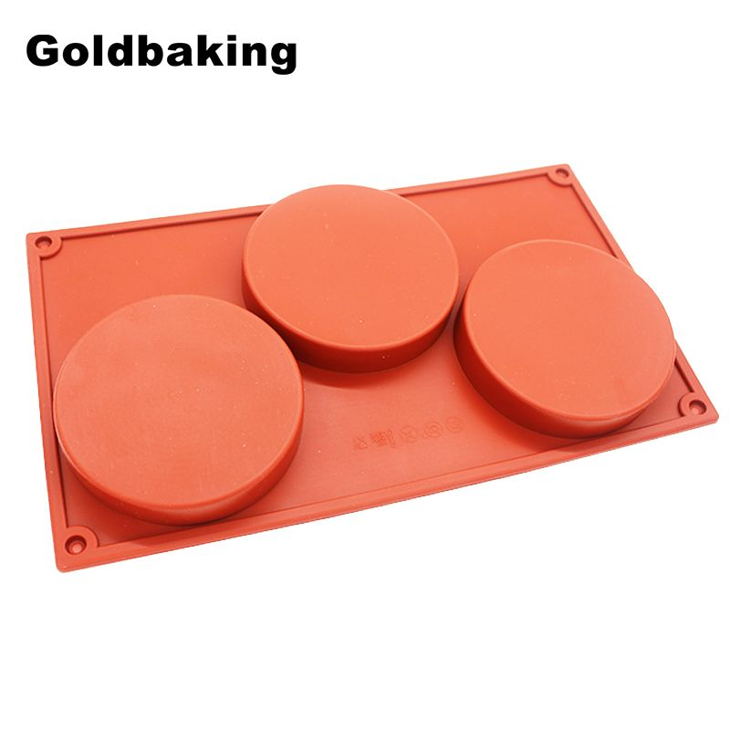 Goldbaking 3-Cavity Large Round Disc Candy Silicone Mold Shallow Cylinder Cake Mold Silicone Classic Collection Mould Shapes