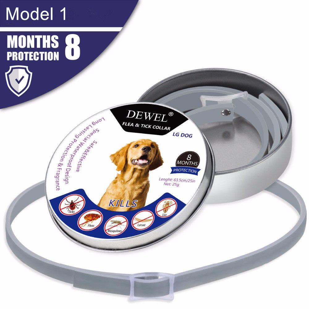 Dewel tout chat collier pour chien Anti puces tiques moustiques extérieur Protection ajustable colliers pour animaux de compagnie 8 mois Protection longue durée