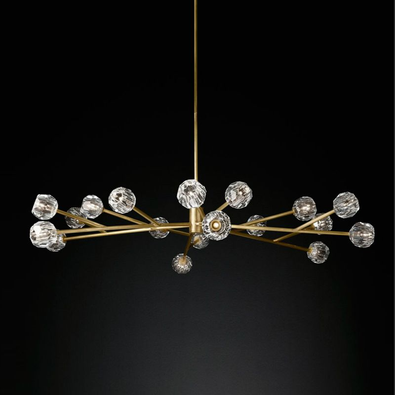 American Post Modern RH Loft Led G4 Chandelier Living Room Copper Led Chandelier Lighting Foyer Crystal Lampshades Suspend Lamp