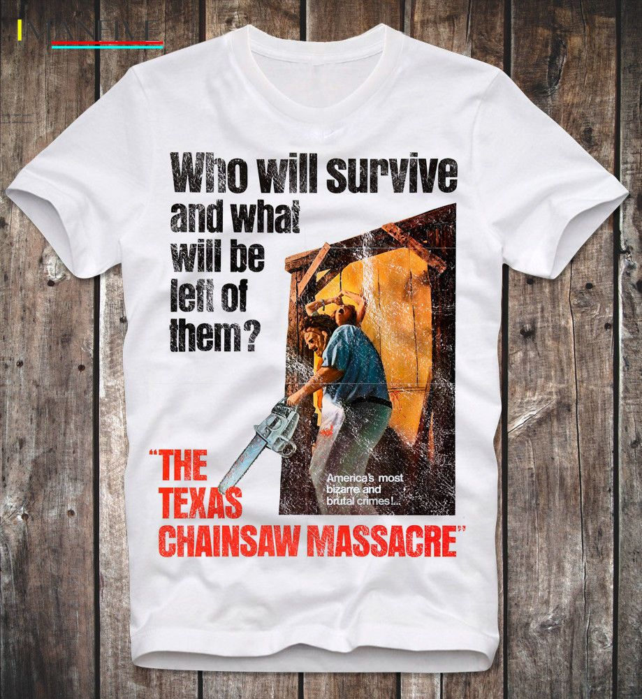 T Hemd Texas Chainsaw Massacre Leatherface 70S Retro Vintage Horror Film Film 100% Baumwolle Kurzarm O Neck Tops t Shirts