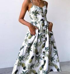 3XL verano 2018 Correa impresión Floral Dot Long Beach Vestido Mujer Sundress Sexy Loose elegante Vintage botón bolsillos señoras vestido