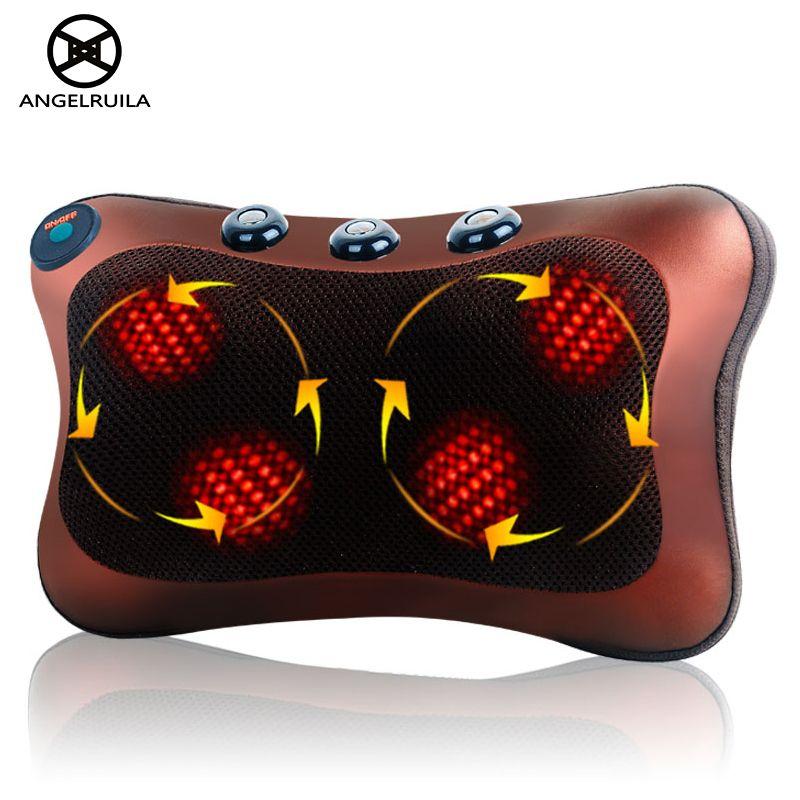 Angelruila Neck Massager Waist Back Leg Body Cervical Massage Pillow Electric Infrared Heating Shiatsu Spa Home/Car Cushion