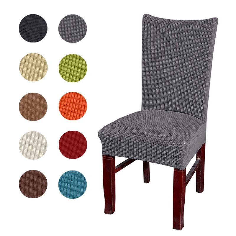 Jacquard vérifié housse de chaise Stretch siège housses de chaise Salle Lavable Protecteur Housse pour Hôtel banquet À Manger décoration d'intérieur