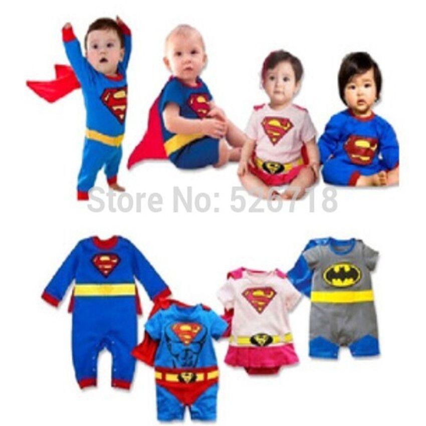 Chaud! 2019 nouveau mode dessin animé coton enfants garçons vêtements combinaison Batman bébé garçon barboteuses Superman bébé Gilr barboteuse bébé Costume