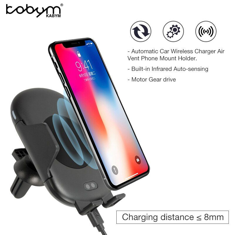 Kabym Auto induction infrared Sensor Fast qi Car Wireless Charger Air Vent Mount Holder Cradle S7 S8 S9 for iPhone 8 X Type c