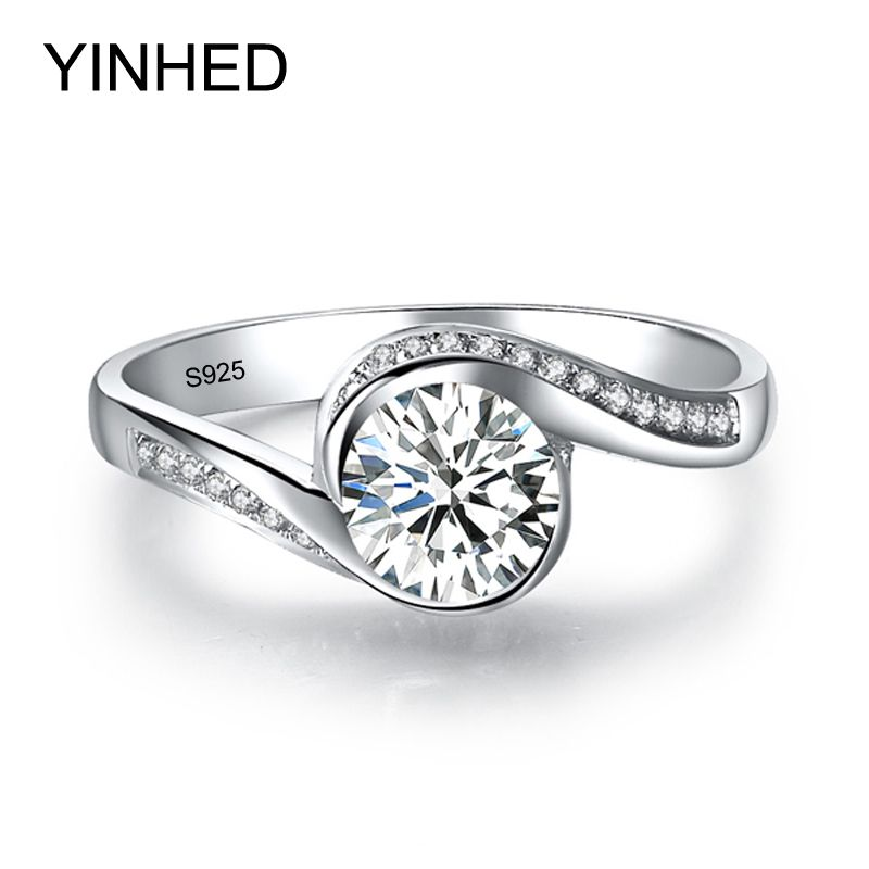 YINHED Anillo Solitario Elegante Auténtica plata de Ley 925 Anillos de Bodas de Plata para Las Mujeres 6mm 1 Quilates CZ Anillo Diamant Engagement ZR326