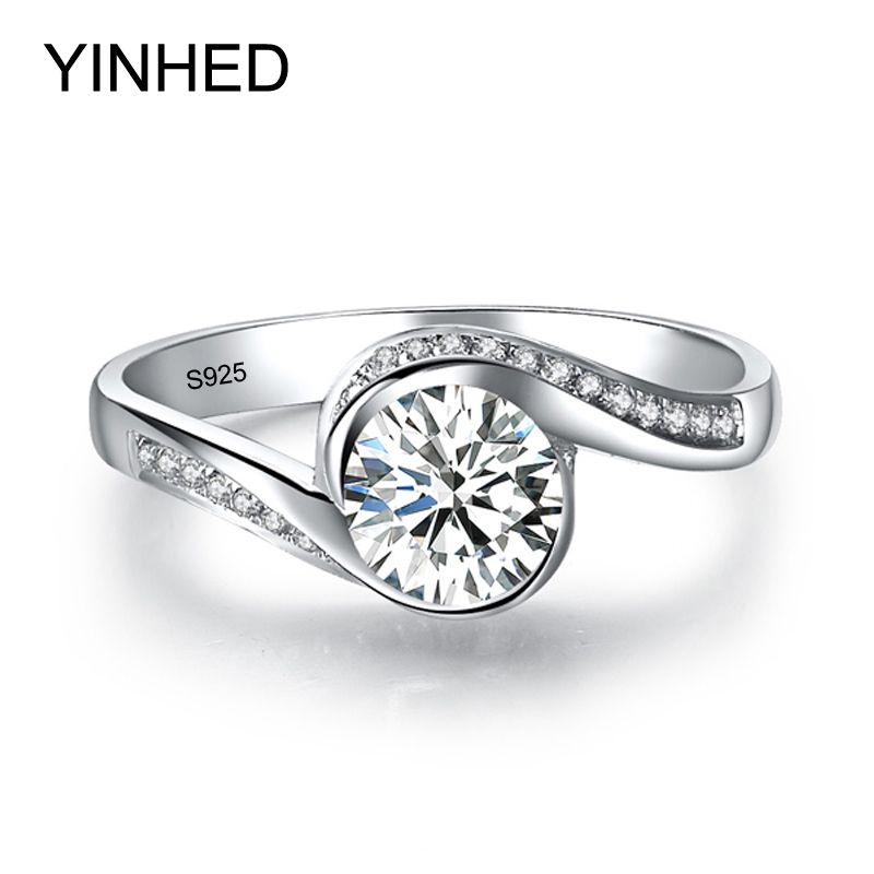 Yinhed элегантный пасьянс кольцо Подлинная стерлингового серебра 925 Свадебные Кольца для Для женщин 6 мм 1 карат CZ Diamant Обручение кольцо zr326