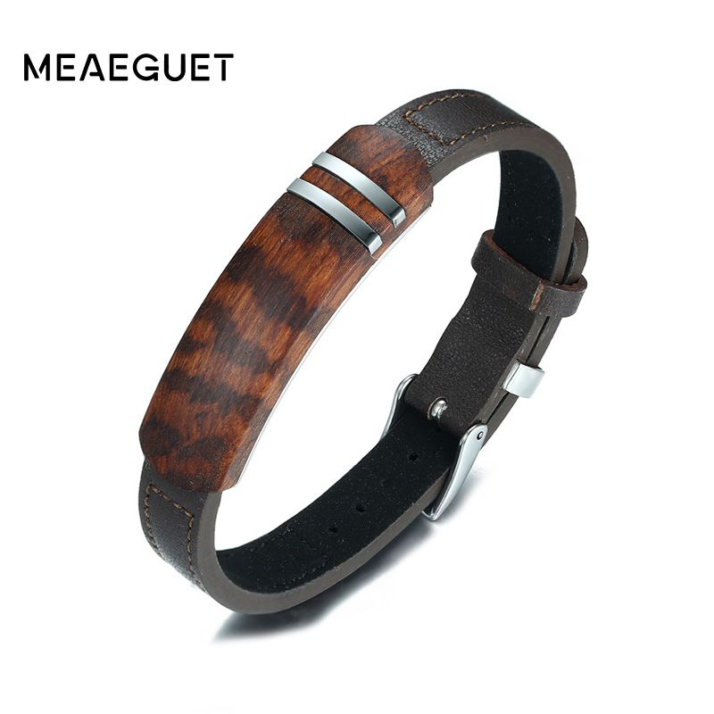 Meaeguet Brown Genuine Leather <font><b>Charm</b></font> Bracelets Men Top Quality Rosewood Plaque Bracelet Stainless Steel Jewelry 13mm Wide
