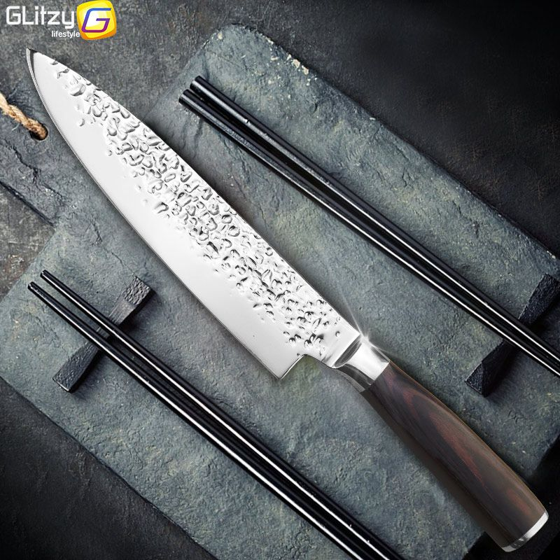 Kitchen Knife 8 inch Professional Chef Knives Japanese 7CR17 440C <font><b>High</b></font> Carbon Stainless Steel Meat Santoku Knife Pakka Wood