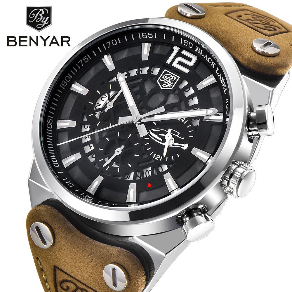 BENYAR Luxury Brand Chronograph Sport Mens Watches Fashion Military Waterproof Leather Quartz Watch Clock Men Relogio Masculino